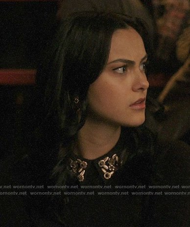 Veronica's black embellished collar sweater on Riverdale