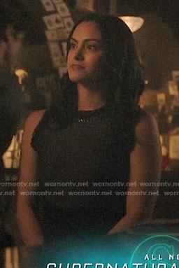 Veronica's navy ruffle-trim dress on Riverdale