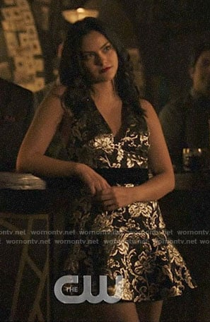 Veronica's silver floral dress on Riverdale