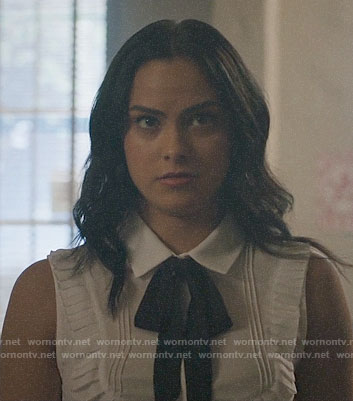 Veronica's white ruffle trim top on Riverdale