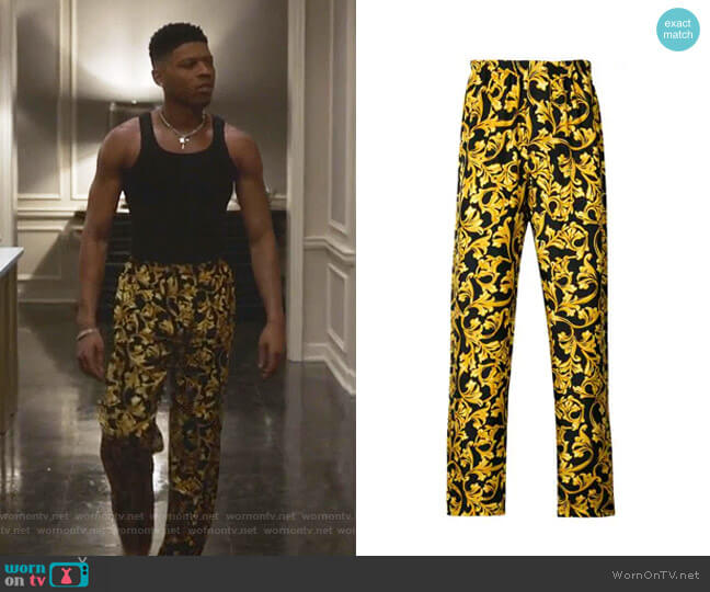 Baroque Print Pajama Bottoms by Versace worn by Hakeem Lyon (Bryshere Y. Gray) on Empire