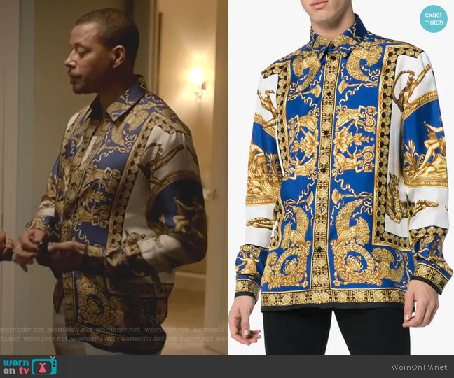 Baroque-Print Shirt by Versace worn by Lucious Lyon (Terrence Howard) on Empire