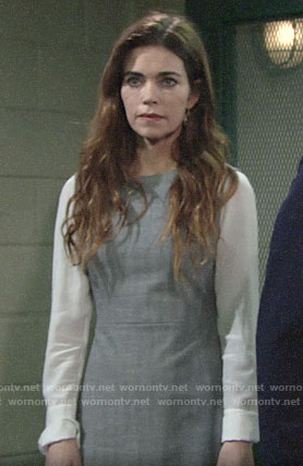 Victoria's grey dress with white blouse sleeves on The Young and the Restless
