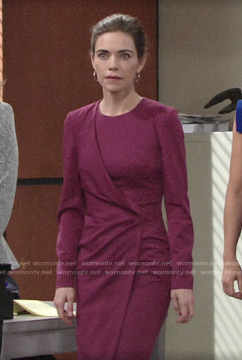 Victoria's purple courtroom dress on The Young and the Restless