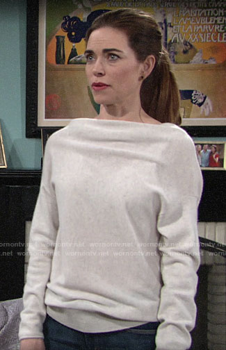 Victoria's draped neck sweater on The Young and the Restless