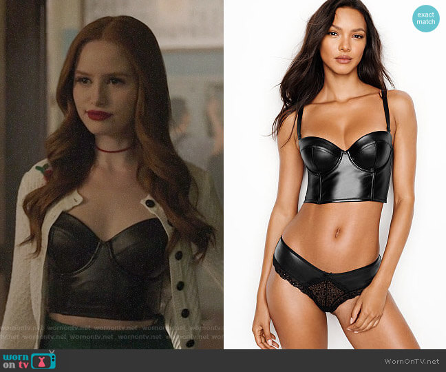 Victoria's Secret Faux Leather Bustier worn by Cheryl Blossom (Madelaine Petsch) on Riverdale