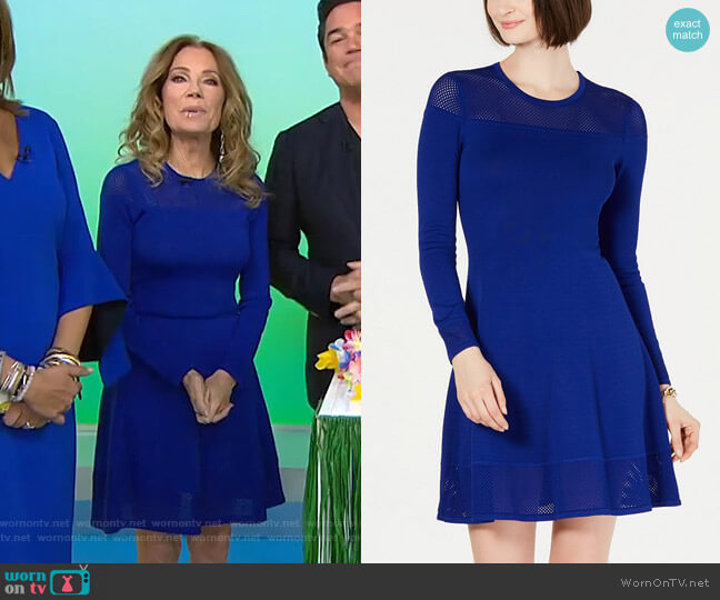 Mesh-Trim Sweater Dress by Vince Camuto worn by Kathie Lee Gifford (Kathie Lee Gifford) on Today