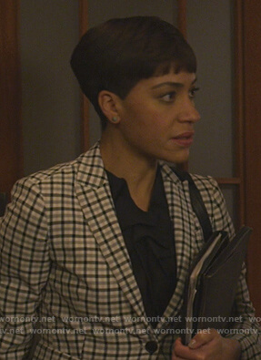 Lucca's white check blazer on The Good Fight