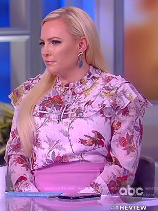 Meghan's floral ruffle blouse on The View
