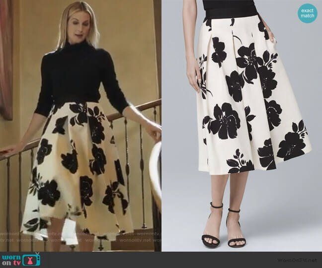 Floral Print Midi Skirt by White House Black Market worn by Clair Hotchkiss (Kelly Rutherford) on PLL The Perfectionists