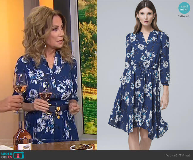 Floral Print Soft Blouson Dress by White House Black Market worn by Kathie Lee Gifford  on Today