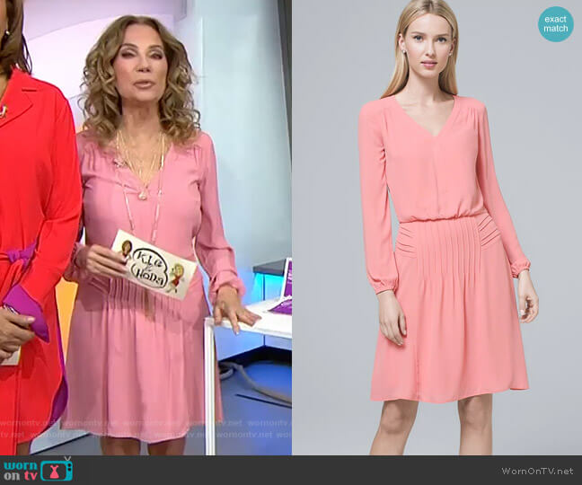 Pintucked Blouson Dress by White House Black Market worn by Kathie Lee Gifford  on Today