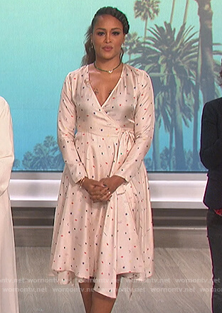 Eve's printed wrap dress on The Talk