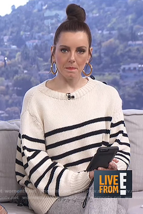Melanie's white striped sweater on Live from E!