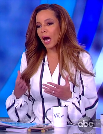 Sunny's white striped wrap top on The View