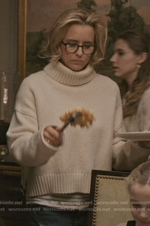 Elizabeth's white turtleneck sweater on Madam Secretary