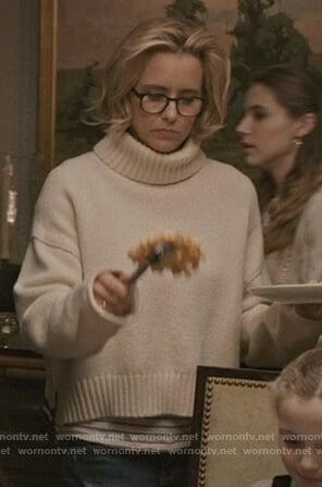 Elizabeth's white turtleneck sweater on Madam Secretary