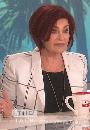 Sharon's white check blazer on The Talk