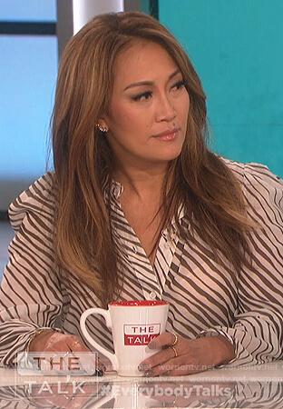 Carrie's white zebra stripe blouse on The Talk