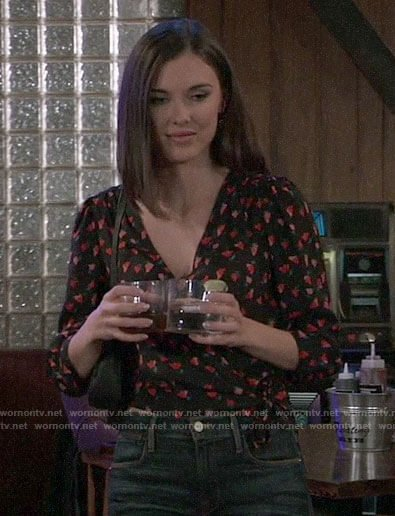 Willow's floral wrap top and ankle boots on General Hospital