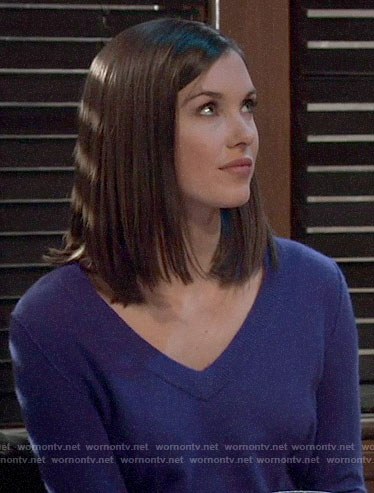Willow's purple v-neck sweater on General Hospital