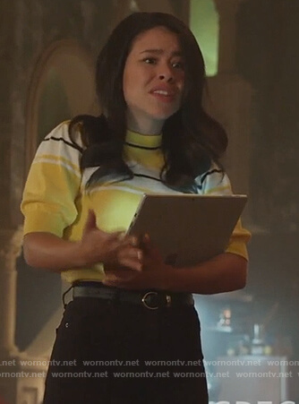 Mariana's yellow striped sweater on Good Trouble