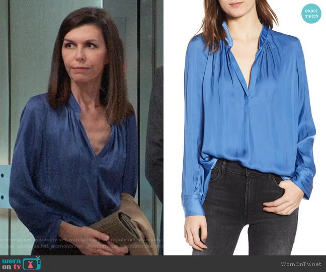 Zadig & Voltaire Tink Satin Blouse worn by Anna Devane (Finola Hughes) on General Hospital