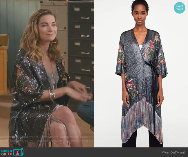 Embroidered Sequin Dress by Zara worn by Alexis Rose (Annie Murphy) on Schitts Creek