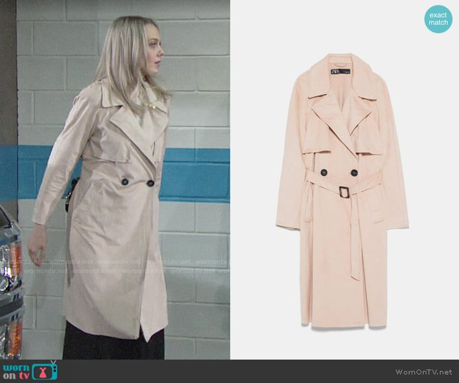 Zara Faux Suede Double Breasted Trench Coat worn by Abby Newman (Melissa Ordway) on The Young & the Restless