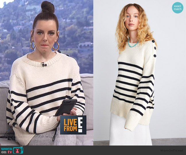 Knit Sweater with Stripes by Zara worn by Melanie Bromley  on E! News