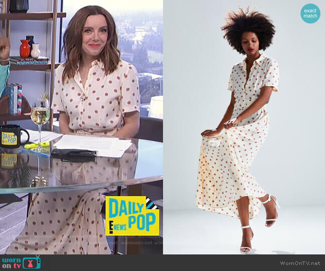 Long Polka Dot Dress by Zara worn by Melanie Bromley  on E! News