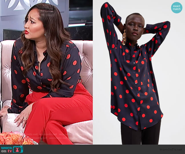Polka-Dot Shirt by Zara worn by Adrienne Houghton  on The Real