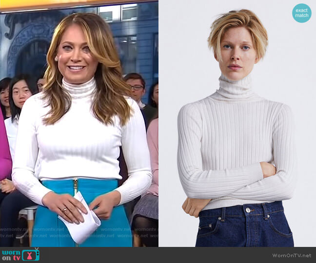 Ribbed Knit Sweater by Zara worn by Ginger Zee  on Good Morning America