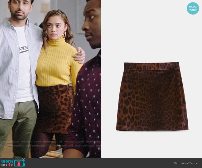 Zara Animal Print Velvet Skirt worn by Jaya (Shazi Raja) on God Friended Me