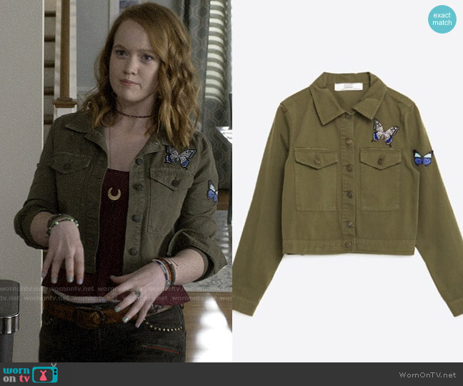 Military Jacket with Embroidered Butterflies worn by Abby Hammond (Liv Hewson) on Santa Clarita Diet
