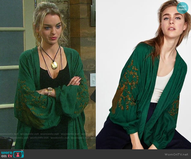 Zara Embroidered Jacquard Kimono worn by Claire Brady (Olivia Rose Keegan) on Days of our Lives