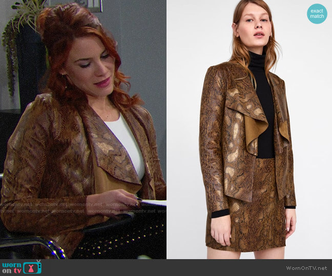 Zara Faux Suede Animal Print Jacket worn by Sally Spectra (Courtney Hope) on The Bold & the Beautiful
