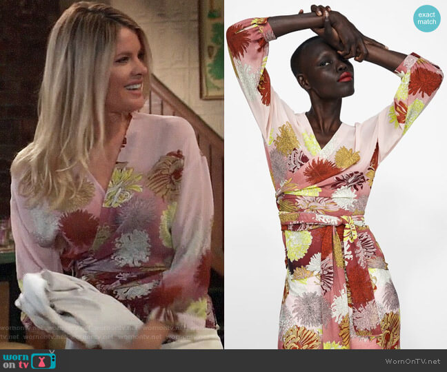 Zara Floral Print Wrap Blouse worn by Nina Reeves (Michelle Stafford) on General Hospital