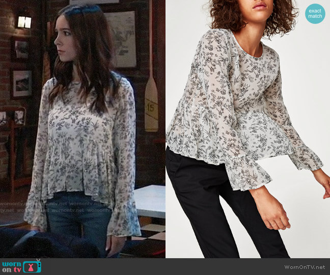 Zara Flowing Peplum Top worn by Molly Lansing-Davis (Haley Pullos) on General Hospital