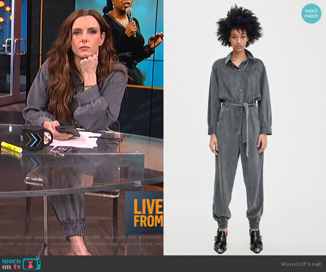 Long Belted Jumpsuit by Zara worn by Melanie Bromley (Melanie Bromley) on E! News