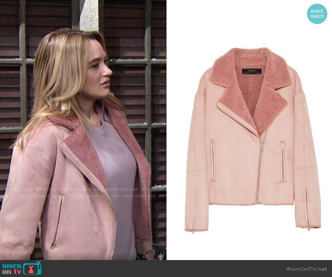 Zara Suede Effect Jacket worn by Summer Newman (Hunter King) on The Young & the Restless