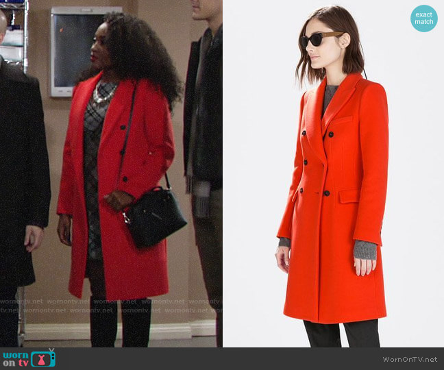 Zara Double Breasted Coat worn by Ana Hamilton (Loren Lott) on The Young & the Restless