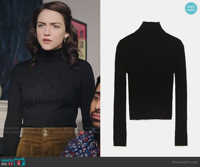 Zara Ribbed Knit Turtleneck Sweater worn by Cara Bloom (Violett Beane) on God Friended Me