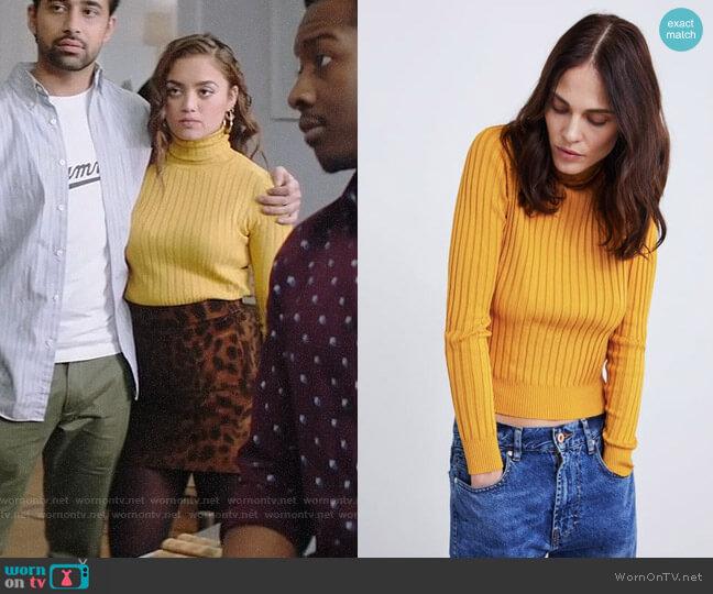 Zara Ribbed Knit Turtleneck Sweater worn by Jaya (Shazi Raja) on God Friended Me
