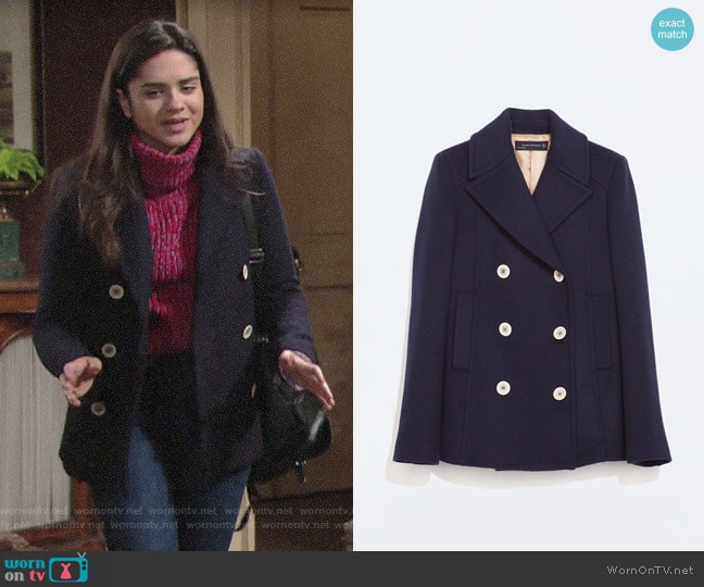 Zara Short Buttoned Coat worn by Lola Rosales (Sasha Calle) on The Young & the Restless