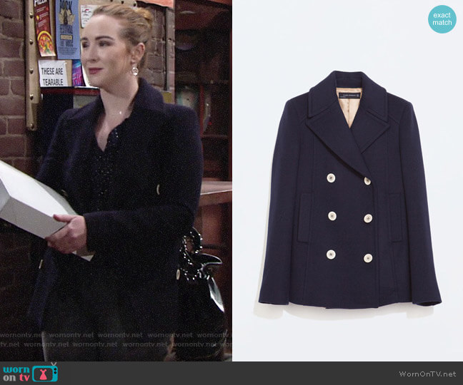 Zara Short Buttoned Coat worn by Mariah Copeland (Camryn Grimes) on The Young & the Restless