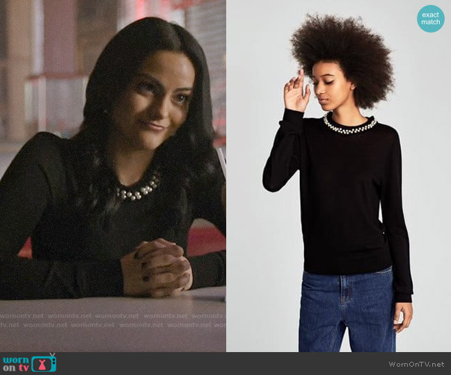 Zara Sweater with Faux Pearl Collar worn by Veronica Lodge (Camila Mendes) on Riverdale