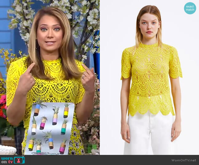 Lace T-Shirt by Zara worn by Ginger Zee  on Good Morning America