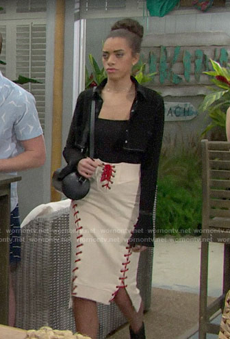 Zoe's lace-up skirt on The Bold and the Beautiful