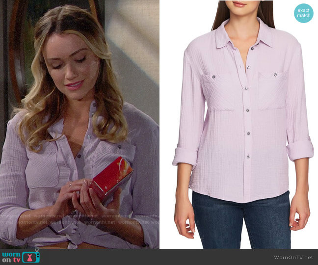 1.State Patch Pocket Gauze Top in Fresh Lilac worn by Florence (Katrina Bowden) on The Bold & the Beautiful